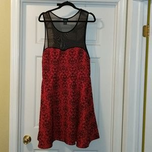 RUE plus size black and red holiday dress